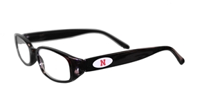 Husker Black Oval Reader Glasses