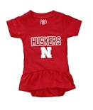 Infant Girls Nebraska Huskers Ruffle Hopper Onesie