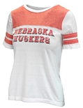 Ladies Nebraska Huskers Football Tee