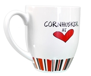 Nebraska Cornhusker Heart Striped Mug