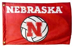 Nebraska Volleyball Flag w Grommets