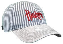Womens Grey Stripe Stone Washed Denim Huskers Lid