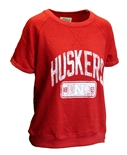 Womens Huskers Rolled Sleeve Sweat Top