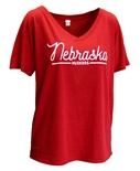 Womens Nebraska Fleck V-Neck Tee